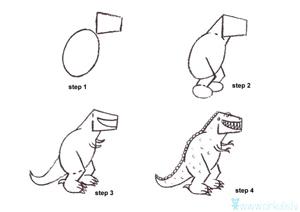Kā uzzīmēt dino