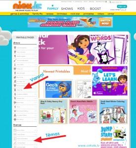 NickJr.com spēles un uzdevumi