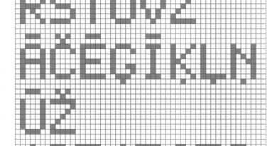 Pikseļu alfabēts rūtiņās