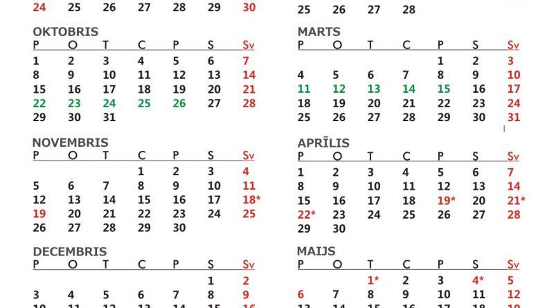 Mācību gada kalendārs 2018./2019. gadam