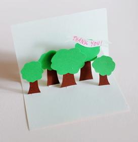 pop-up kartiņa koki